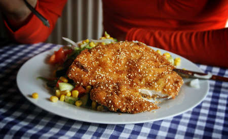 Wiener Schnitzel. The schnitzel is traditionally prepared with a thin slice of veal.