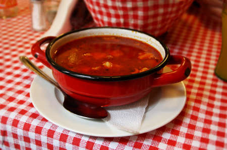 Traditional Hungarian goulash (Tasty meat soup).
