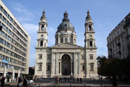 The Basilica of St. Stephen in Budapest Hungary. View from St. Stephens Square.