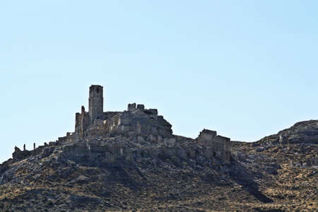 Ruins of Castle bombed in the Spanish Civil War, Battle of Belchite