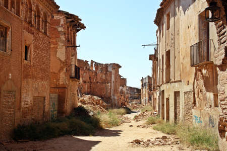 Ruins of a town bombed in the Spanish Civil War, Battle of Belchite (Spain).
