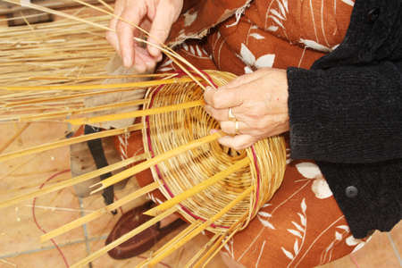 Traditional cane handicraft in Sanlucar de Guadiana (Spain).