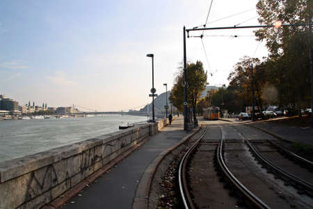 Next tram to Danube rive in Budapest, Hungary.