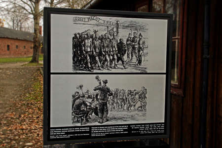 Auschwitz I concentration camp. Explanatory panel at the entrance of the camp.