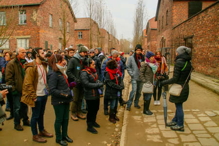 Auschwitz I concentration camp (in Oswiecim, Poland). Tourists visiting the concentration camp.