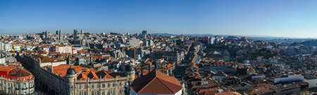 Panoramic and aerial view of Porto from the Clérigos tower (Portugal).