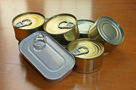 Canned food. Tinned food. Still life of a group of different types of food cans.