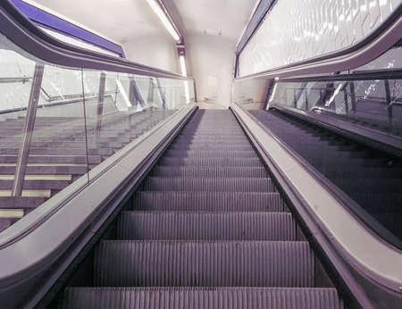 Escalator of the Madrid Subway, Spain.