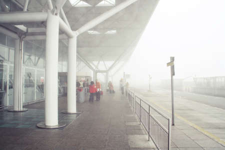 Stansted Mountfitchet / United Kingdom; 10/18/2013. Foggy day in the London Stansted Airport.