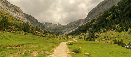 Panoramic view of the beautiful Ordesa Valley in the Pyrenees, Huesca, Spain.