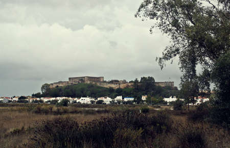 The town of Castro Marim with its castle located at the mouth of the Guadiana river, border between Spain and Portugal