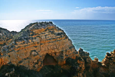 "Cliffs of the coastline of Lagos; ""Ponta da Piedade"", translation; Pity Cape, in Faro, Algarve, Portugal."