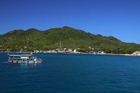 Koh Tao island in Thailand. Paradise destination, especially for divers. Divers boat sailing the waters of the island.