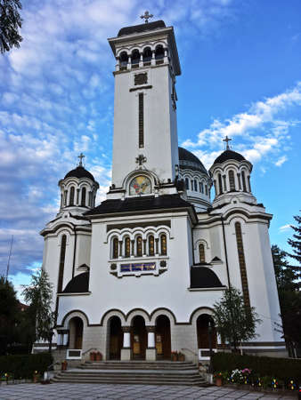 Sighisoara / Romania; 07/01/2018. Church of the Holy Trinity. A beautiful Orthodox church located next to the Tarnava River, a river that runs through the city. Stock Photo