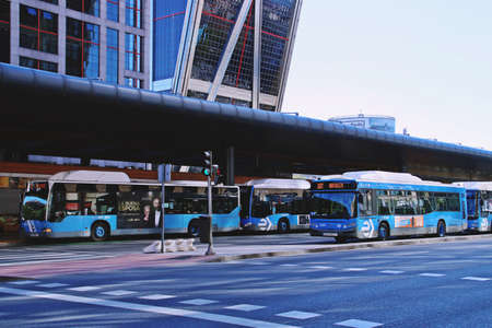 Madrid, Spain. 10 16 2018. The urban bus station of Plaza de Castilla in Madrid. Bus station located in the financial district of Madrid next to the Kio towers.
