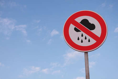 censure: no raining or bad weather road sign on blue sky