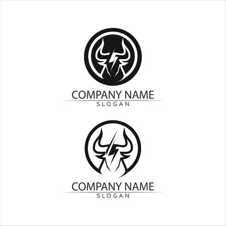 Bull horn and buffalo logo and symbols template icons app