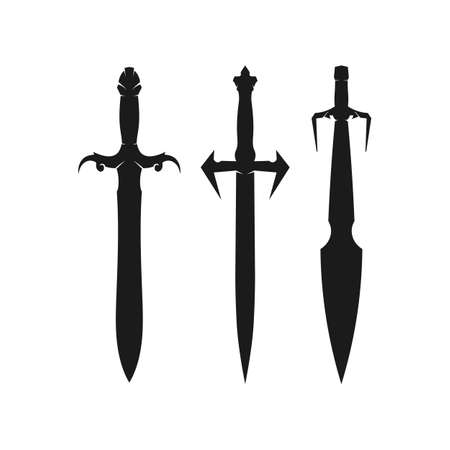 Cross swords, saber and blade  icon flat Simple vector symbol and bonus icon