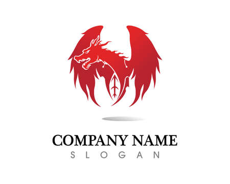 Head dragon flat color template vector illustration Vetores