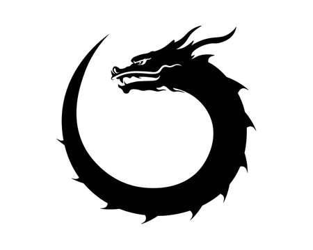 Head dragon flat color template vector illustration