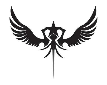 Black wing symbol for a professional designer Vettoriali