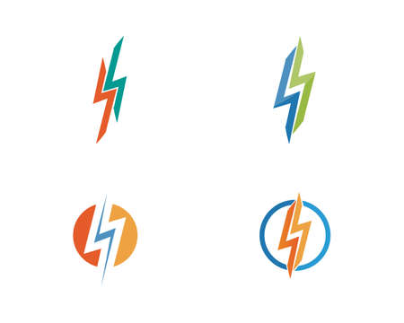 electric Vector lightning icon and symbols 向量圖像