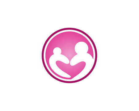 Vector Sign a mother adoption community and people care and couple