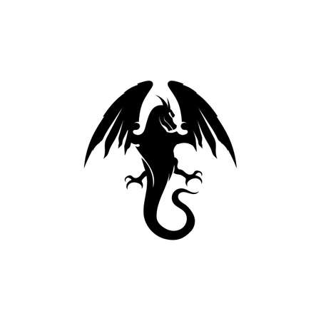 Head dragon flat color logo template vector illustration Logo