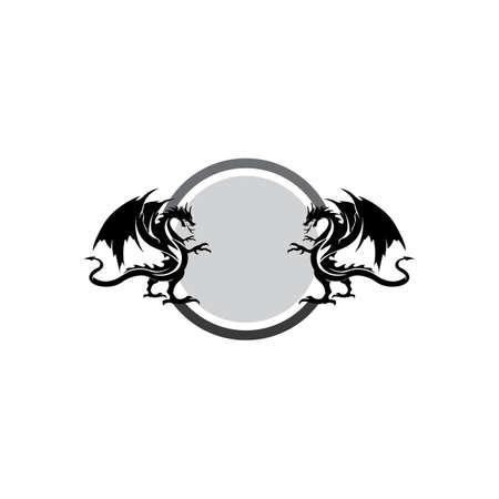 Head dragon flat color logo template vector illustration Stock fotó - 156804037