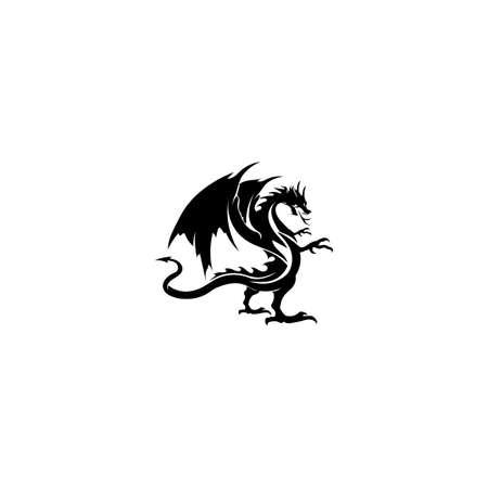Head dragon flat color logo template vector illustration Stock fotó - 156804072