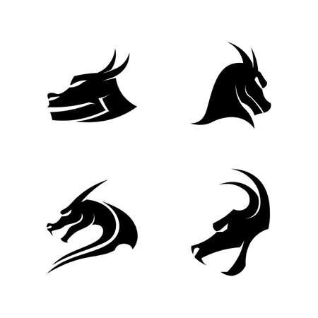 Head dragon flat color logo template vector illustration Stock fotó - 156804176
