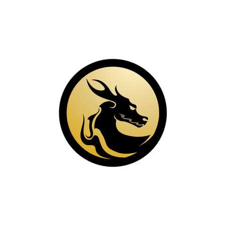 Head dragon flat color logo template vector illustration 向量圖像