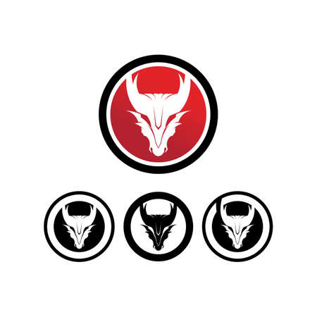 Head dragon flat color logo template vector illustration 일러스트