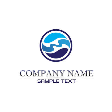 Waves beach logo and symbols template icons app blue