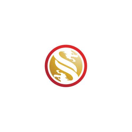 Head dragon flat color logo template vector illustration design