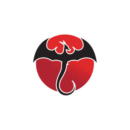 Head dragon flat color logo template vector illustration design Logo