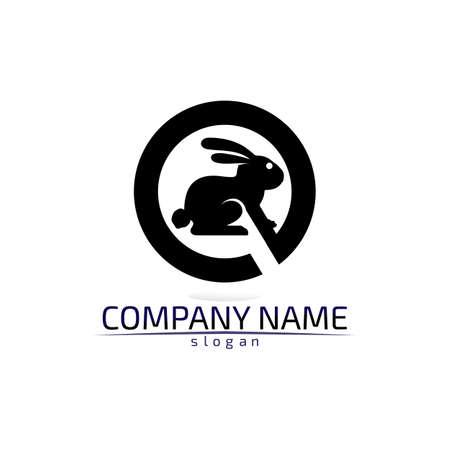 Rabbit vector Logo template and animal icon design