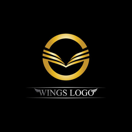 Black gold wing   symbol for a professional designer