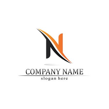 N Letter Logo Template vector icon illustration design Logo