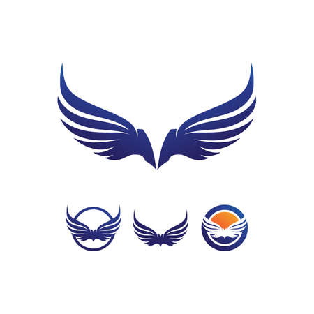 Wings logo Business and design animal wings Vector fast bird symbol icon fly