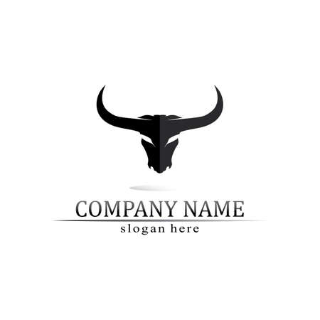 Bull logo and cow animal, logo and vector horn and buffalo logo and symbols template icons app