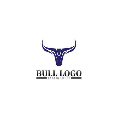Bull buffalo head logo. Animal mascot logo design vector for sport.