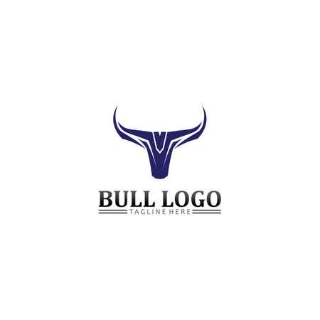 Bull buffalo head logo. Animal mascot logo design vector for sport.