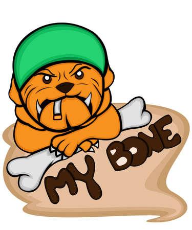 keeping: a cute little bulldog with army helmet keeping bone