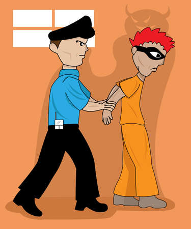 being arrested: a wicked evil shadow prisoner being arrested by a police officer
