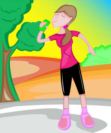 jogging track: a thirtsty young girl drinking softdrink in a beautiful park with tree and bight light of the sun