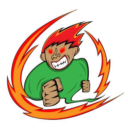 hot temper: un hombre con expresi�n de enojo liberando fuego de sus ojos y el cuerpo Vectores