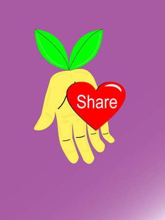 Hand Share Love Illustration