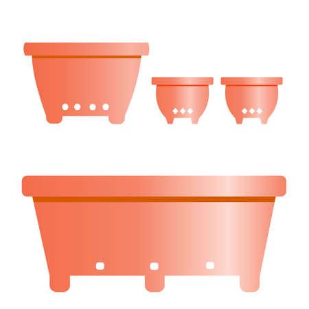 back yard: Set of Flower Pots