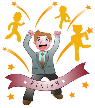 Success Businessman Competition Illustration